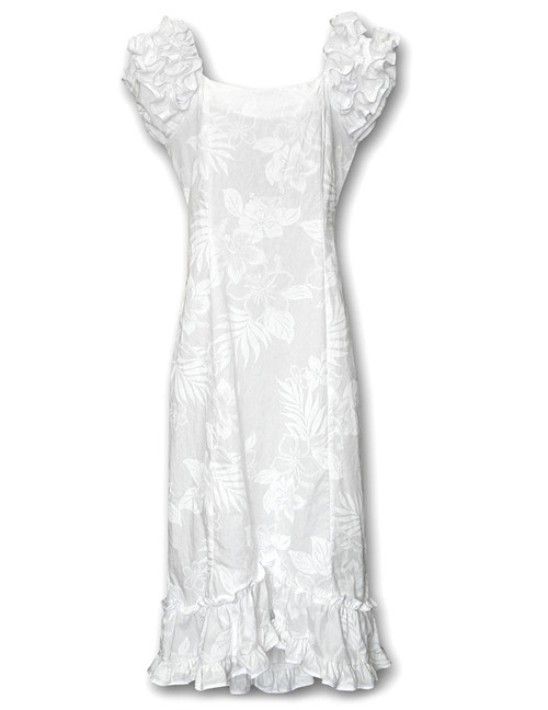 Long Ruffle White Wedding Muumuu La'ele Long Maxi Muumuu Style - Shoulder and Hem Ruffles Elastic Shoulders and Sleeves Design Form-fitted Dress with Back Zipper Short Fishtail Train 100% Cotton Color: White Sizes: XS - 2XL Machine Wash: Iron and Steam Safe Made in Hawaii - USA