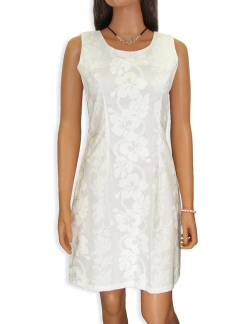 White Short Sleeveless Hawaiian Wedding Dress 100% Cotton Fabric Short Style Sleeveless Color: White Sizes: S - 2XL Zipper on Back Made in Hawaii - USA