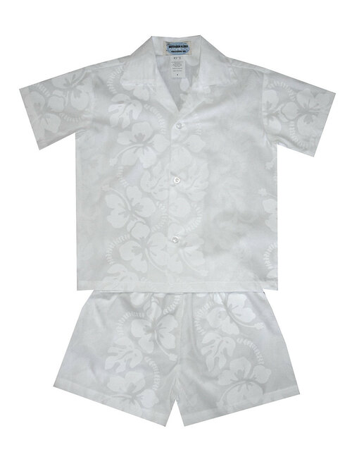Toddler Boy's White Shirt / Shorts Set 100% Cotton Fabric Coconut Shell Buttons Color: White Sizes: 2 - 8 Made in Hawaii - USA