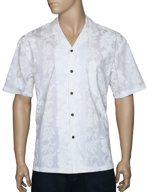 White Wedding Hawaiian Shirt Hibiscus Leis 100% Cotton Fabric - Versatile and Cool Open Collar - Relaxed Modern Fit Coconut shell buttons - Matching left pocket Color: White Sizes: S - 8XL Made in Hawaii - USA