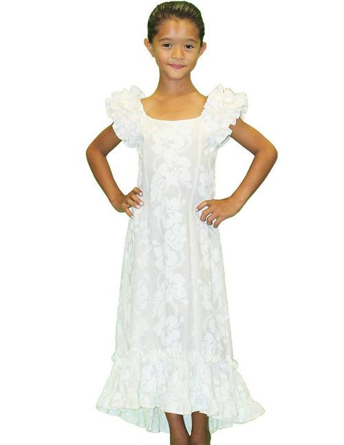 Girls Ruffled Hawaiian Muumuu Dress White Hibiscus 100% Cotton Fabric Color: White Sizes: 4,6,8,10,12 Versatile Short Brush Train Machine Wash, Iron and Steam Safe Made in Hawaii - USA