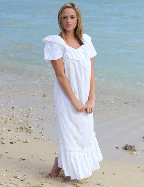White Long Ruffled Wedding Hawaiian Muumuu