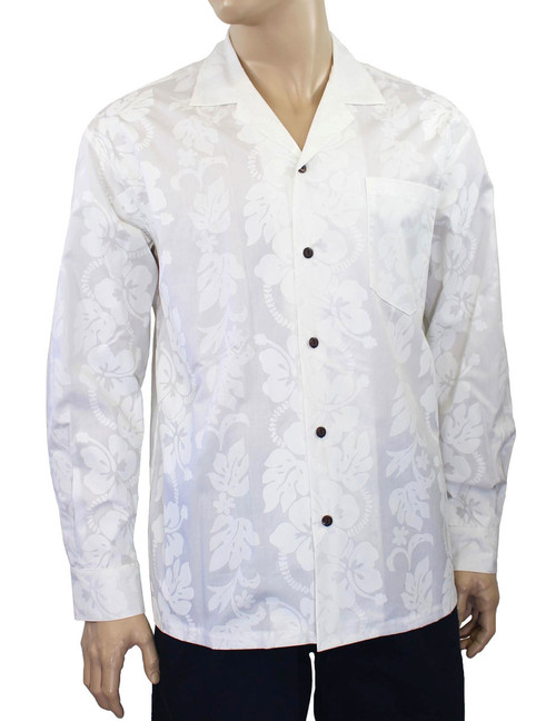 White Hawaii Wedding Long Sleeves Shirt 100% Cotton Fabric Open Collar Modern Fit Coconut shell buttons Matching left pocket Color: White Sizes: M - 3XL Made in Hawaii - USA