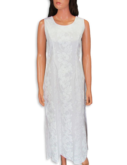 Hibiscus Leis Long Hawaiian Wedding Dress Sleeveless 100% Cotton Fabric 2 Sides Hem Slits 18 Inches Long Back Zipper Sleeveless Maxi Dress Style Color: White Sizes: S - 2XL Made in Hawaii - USA