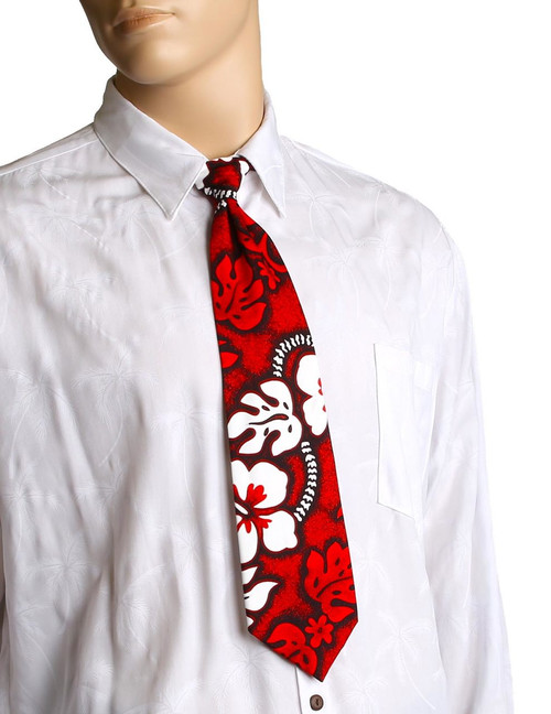 "Red Hawaiian Aloha Tropical Hbiscus Necktie Awesome tropical patterns and colorful designs, perfect for casual and formal events 100% Cotton Fabric Color: Red Length: 53"" Width: 4"" At wide end Made in Hawaii"