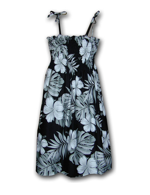 "Mid Length One Size Spaghetti Strap Palekaiko Dress 100% Cotton Color: Black Length: 33"" (mid size) Size: One Size fits most From: S - 2XL Made in Hawaii - USA Matching Items Available"