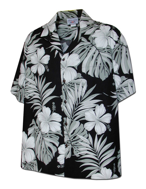 Palekaiko Black Hawaiian Cotton Shirt 100% Cotton Fabric Coconut shell buttons Matching left pocket Color: Black Sizes: S - 4XL Made in Hawaii - USA Matching Items Available