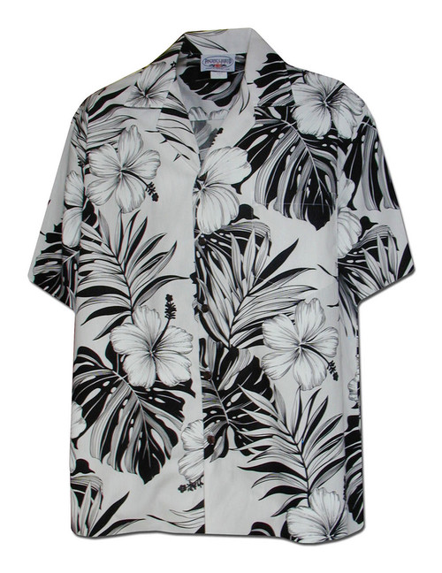 Palekaiko Aloha White Men Shirt 100% Cotton Fabric Coconut shell buttons Matching left pocket Color: White Sizes: S - 4XL Made in Hawaii - USA Matching Items Available