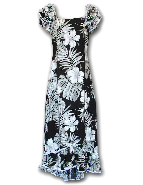 Palekaiko Long Ruffle Muumuu Dress Long Maxi Muumuu Style Shoulders and Hem Ruffles Elastic Shoulders and Sleeves Design Form-fitted Dress with Back Zipper Short Fishtail Train 100% Cotton Color: Black Sizes: S - 2XL Machine Wash, Iron and Steam Safe Made in Hawaii - USA