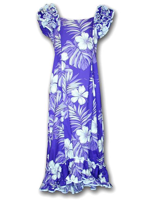 Aloha Ruffle Long Muumuu Palekaiko Dress Long Maxi Muumuu Style Shoulders and Hem Ruffles Elastic Shoulders and Sleeves Design Form-fitted Dress with Back Zipper Short Fishtail Train 100% Cotton Color: Purple Sizes: S - XL Machine Wash, Iron and Steam Safe Made in Hawaii - USA