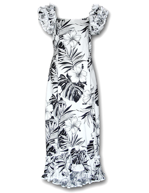 Long Ruffle Palekaiko Muumuu Dress Long Maxi Muumuu Style Shoulders and Hem Ruffles Elastic Shoulders and Sleeves Design Form-fitted Dress with Back Zipper Short Fishtail Train 100% Cotton Color: White Sizes: S - 2XL Machine Wash, Iron and Steam Safe Made in Hawaii - USA