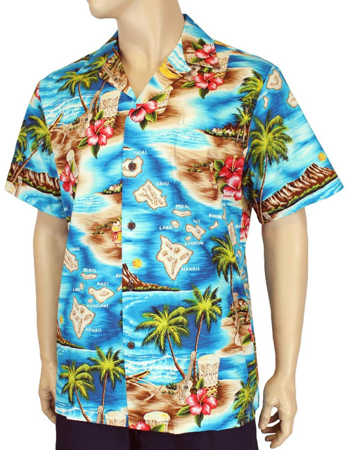 Hawaii Island Design with Polynesian Flavor Men's Shirts 100% Cotton Fabric Open Pointed Folded Collar Genuine Coconut Buttons Seamless Matching Left Pocket Colors: Turquoise Sizes: S - 4XL Made in Hawaii - USA Matching Items Available