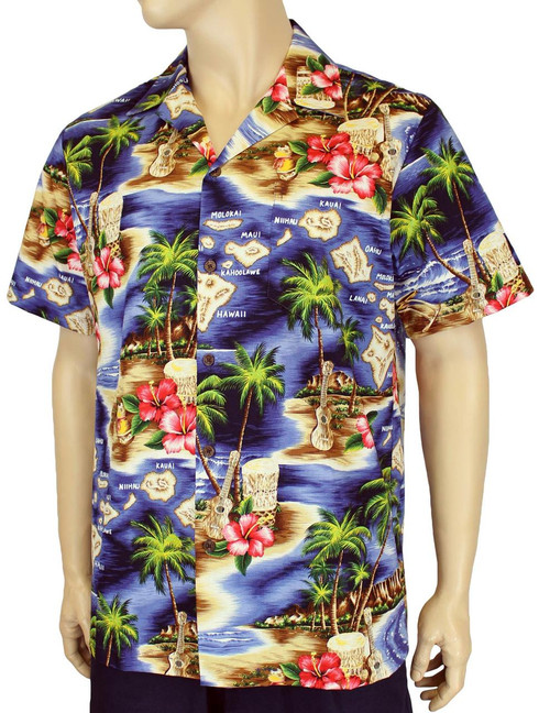 Hawaii Island Design with Polynesian Flavor Men's Shirts 100% Cotton Fabric Open Pointed Folded Collar Genuine Coconut Buttons Seamless Matching Left Pocket Colors: Navy Sizes: S - 4XL Made in Hawaii - USA Matching Items Available