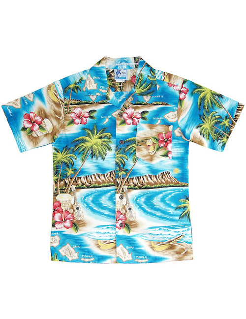 Boys Aloha Shirt Polynesian Island 100% Cotton Fabric Open Pointed Folded Collar Genuine Coconut Buttons Machine Wash Cold Cool Iron Colors: Turquoise Sizes: 2 - 16 Made in Hawaii - USA