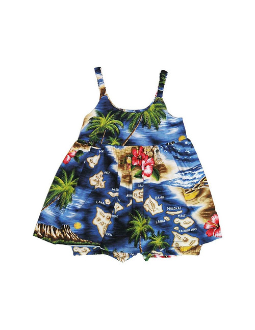 Girls Hawaiian Polynesian Bungee Dress or Set Elastic Bungee Straps Matching Elastic Bottoms (only for 6m-24m) 100% Cotton Fabric Back Adjustable Tie Sundress Style Sizes: 6m - 4t Colors: Navy Made in Hawaii - USA