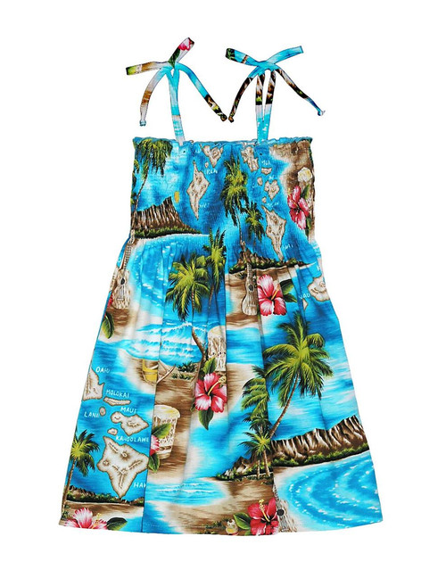Girls Tube Top Smock Dress Hawaiian Polynesian 100% Rayon Fabric Tie On Shoulder Tie Halter Style Colors: Turquoise Sizes: 2,4,6,8,10,12,14 Made in Hawaii - USA