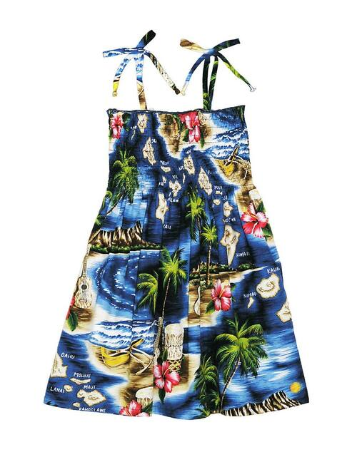 Girls Tube Top Smock Dress Hawaiian Polynesian 100% Rayon Fabric Tie On Shoulder Tie Halter Style Colors: Navy Sizes: 2,4,6,8,10,12,14 Made in Hawaii - USA