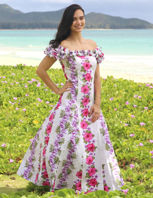 Big Island Ruffled  Hawaiian Wedding Dress Aloha 100% Cotton Fabric Long Maxi Fitted Style Square Ruffled Neckline Ruffled Elastic Shoulder and Cap Sleeves Front and Back Darts and back Center Zipper Sizes: S - 3XL Colors: White Made in Hawaii - USA