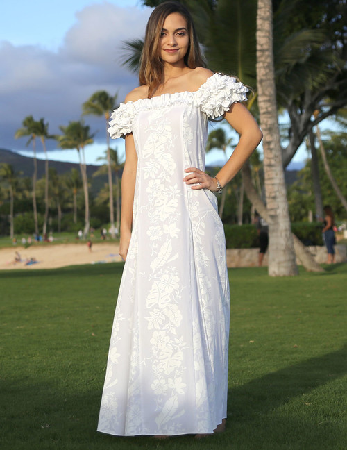 Hawaiian Leis White Wedding Ruffled Dress •	100% Cotton Fabric •	Long Maxi Fitted Style •	Square Ruffled Neckline •	Ruffled Elastic Shoulder and Cap Sleeves •	Front and Back Darts and back Center Zipper •	Sizes: S - 3XL •	Color: White Made in Hawaii - USA