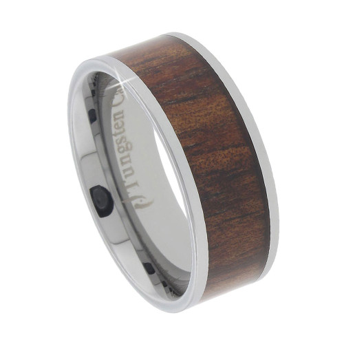 Tungsten Band with Wide Koa Wood Inlay 8mm