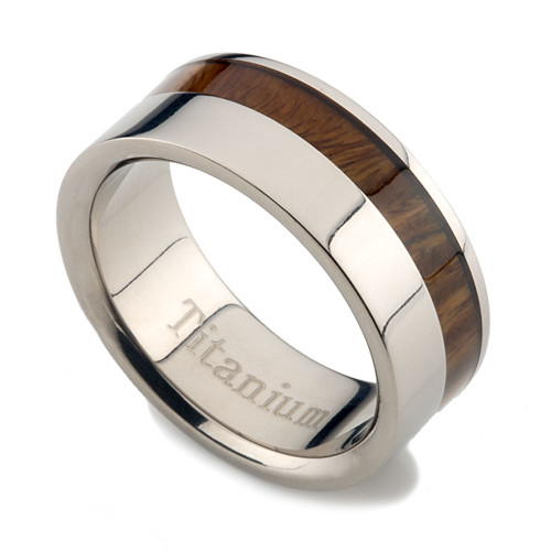 Titanium Ring with Side Koa Wood Inlay 8mm