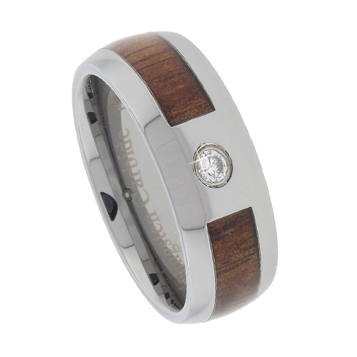 Tungsten Band with Inlay Koa Wood 8mm and CZ Stone