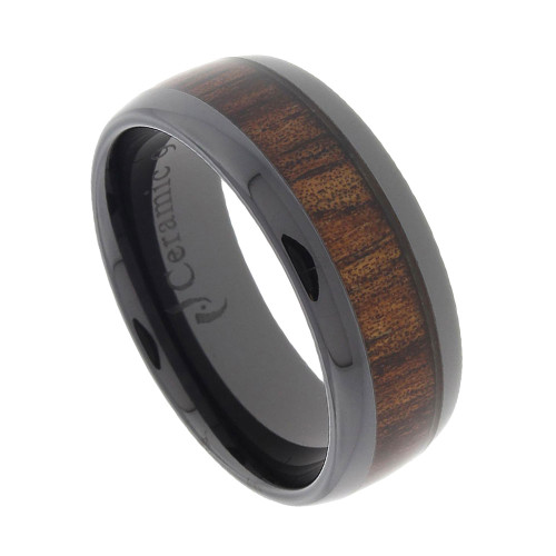 Black Ceramic Band with Koa Wood Inlay 8mm