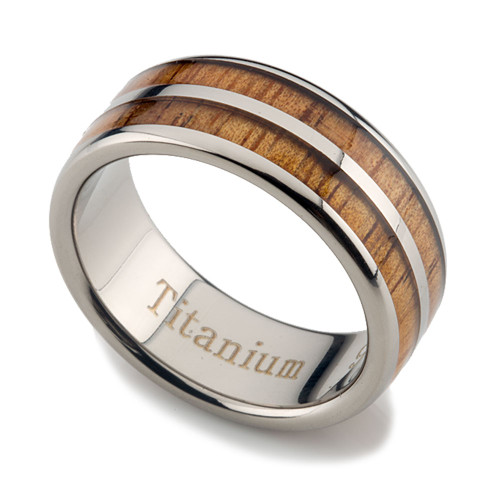 Titanium Koa Wood Ring Double Row Inlaid 8mm