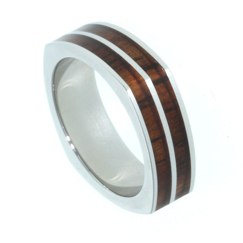 Titanium Band with Koa Wood Inlay 6mm Square Style