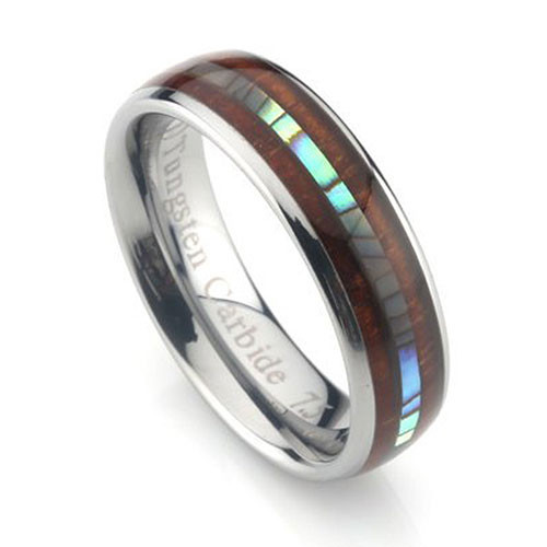 Tungsten Band with Double Inlay Koa Wood and Abalone Shell Inlay 6mm