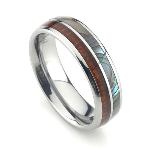 Tungsten Band with Koa Wood and Abalone Shell Inlay 6mm