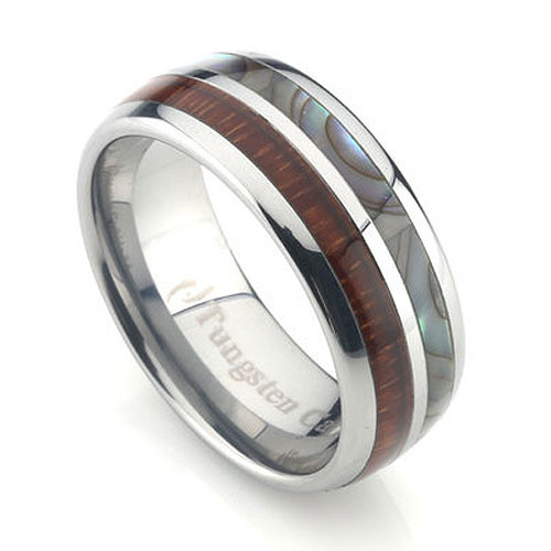 Tungsten Ring with Koa Wood and Abalone Shell Inlay 8mm