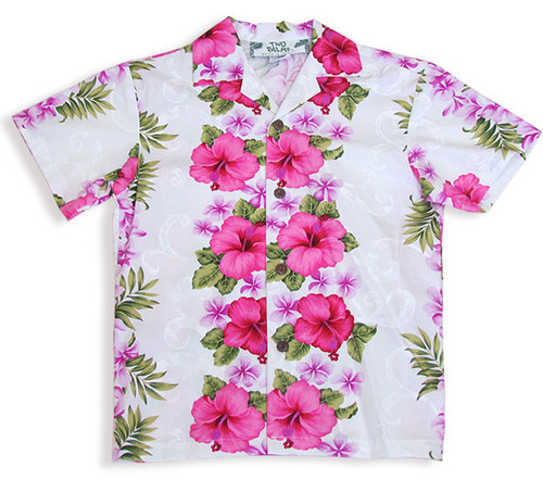 Boy's Hawaiian Shirt Big Island 100% Cotton Fabric Open Pointed Folded Collar Genuine Coconut Buttons Machine Wash Cold, Cool Iron Colors: White Sizes: 1 - 14 Made in Hawaii - USA