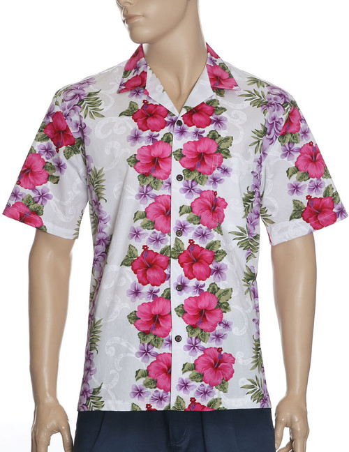 Hawaiian Red Hibiscus Shirt - Big Island 100% Cotton Fabric Open Pointed Folded Collar Genuine Coconut Buttons Seamless Matching Left Pocket Color: White/Pink Sizes: S - 4XL Care: Machine Wash Cold, Cool Iron Made in Hawaii - USA