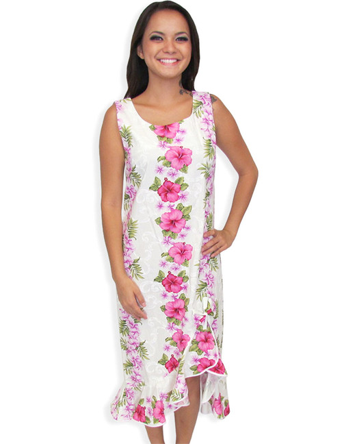 Hawaiian Midi Wedding Dress Big Island with Asymmetric Hem 100% Cotton Fabric Color: White Sizes: XS - 4XL Scoop Neckline and Sleeveless Style High Low Hem Design Made in Hawaii - USA