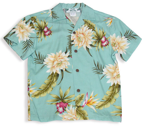 Boys Hawaiian Shirt in Rayon fabric Island Ceres Design 100% Rayon Soft Fabric Genuine Coconut Buttons Perfect Match to Dad or Mom's Outfits Color: Green Sizes: 1- 14 Made in Hawaii - USA