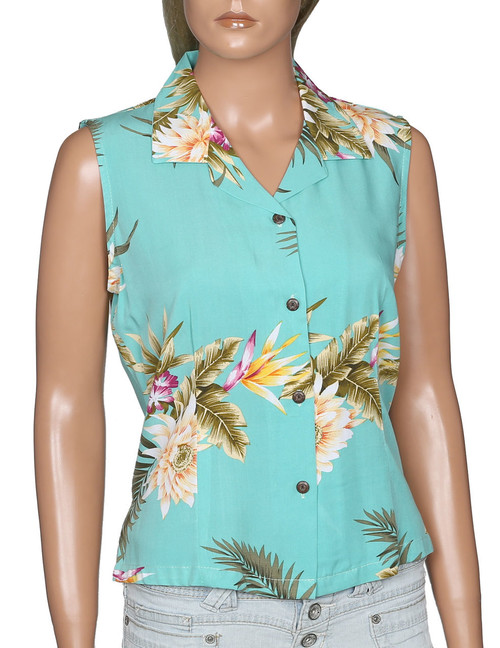 Sleeveless Hawaiian Women Blouse Island Ceres 100% Rayon Soft Fabric Slimming Front and Back Darts Sleeveless and Comfort Fit Design Coconut Shell Buttons Colors: Green Sizes: S - 2XL Made in Hawaii - USA