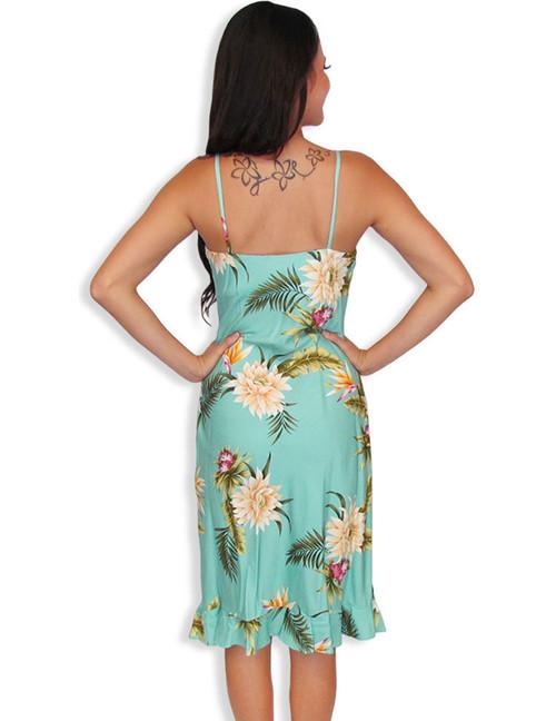 a4cc7c70e3f43 ... Midi Summer Spaghetti Hawaiian Dress Island Ceres 100% Rayon Fabric  Color  Green Sizes