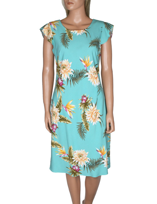 Hawaiian Dress w/ Sleeves Island Ceres Knee Length 100% Rayon Fabric Round Neckline - Butterfly Sleeves Easy Pull-Over Style w/ Coconut Button Fastener Front and Back Darts Colors: Green Sizes: S - 2XL Made in Hawaii - USA