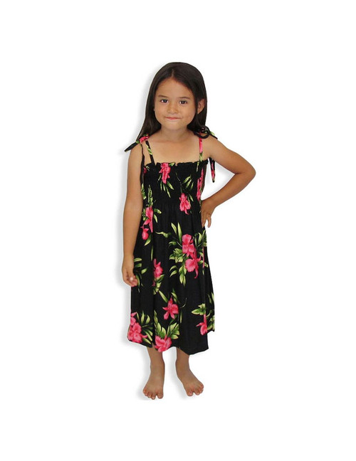"""Okalani - Smocked Girls Tube Top Dress 100% Rayon Color: Black One Size fits All (3 to 12 years old) Length: 21"""", 24"""", 28"""" From the bust Made in Hawaii - USA Matching Items Available"""