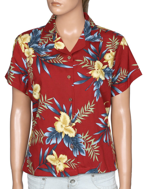 Aloha Women Blouse Okalani 100% Rayon Soft Fabric Coconut shell buttons Color: Red Sizes: S - 4XL Made in Hawaii - USA