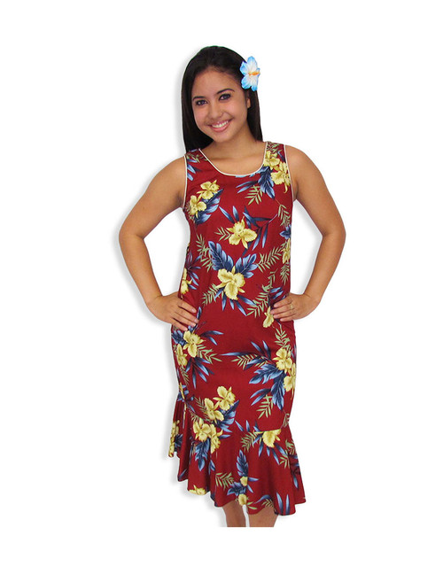Midi Tank Hawaiian Red Dress Okalani 100% Rayon Soft Fabric Neckline Piping Hidden Back Zipper & Empire Waist Darts Front & Back - Ruffled Hemline Color: Red Sizes: XS - 2XL Made in Hawaii - USA