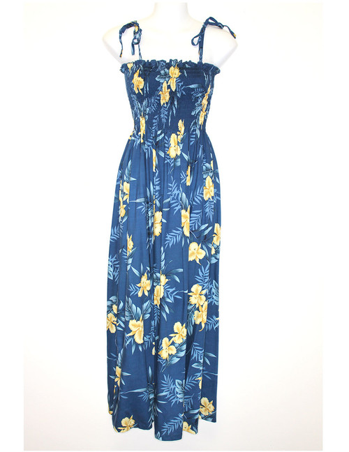 Okalani Long Maxi Smock Top Spaghetti Dress To Wear with Straps or Strapless 100% Rayon Fabric Style: Long Maxi Color: Blue Length: 47-48 Inches From Bust Line Size: One Size fits most Made in Hawaii - USA