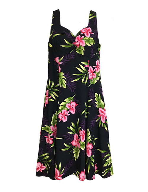 Hawaiian Sundress Rayon Orchids Okalani 100% Soft Rayon Semi Tank Straps and Sweetheart Neckline A-Line Hem Dress with Back Zipper Color: Black Sizes: XS - 2XL Made in Hawaii - USA