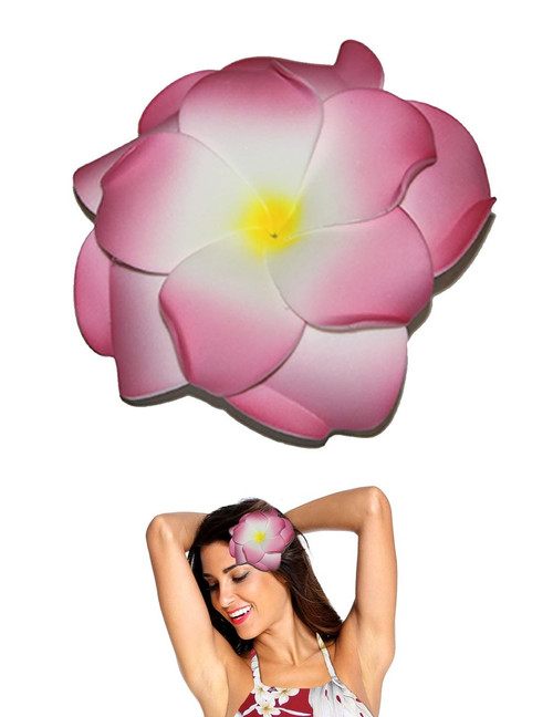 "Extra Large Flower Hair Clip Double Plumeria White Pink Tropical Flower Hair Clip Design Bendable Foam - Double Flower Alligator Clip for Secure Hold Color: White/Pink Size: XLarge 4"" X 4"" Made in Hawaii - USA"