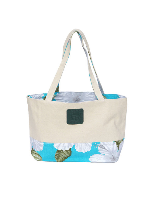 Small Reversible Aqua Tote Bag Designer White Hibiscus Water Resistance Printed Canvas and Dobby Cotton Convenient Side Pocket with Zipper Reversible Fabric Design Color: Aqua Dimensions: 15 Inches Length x 9 Inches Height Imported