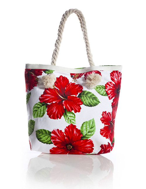 """Red Hibiscus White Tote Handbag Tropical Flirt Heavy Dobby Cotton Material Thick Cotton Rope Handles Satin Nylon Lining (Leaf Green> Inner Pocket and Magnetic Snap Closure Color: White Size: 15""""W x 13""""H x 4""""D A Mon-Chi Haus Designer Handbags Machine Washable Imported"""