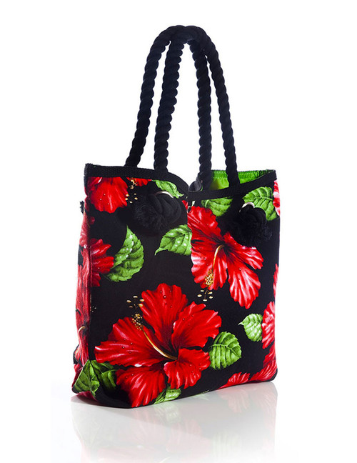 "Red Hibiscus Black Tote Handbag Tropical Flirt Heavy Dobby Cotton Material Thick Cotton Rope Handles Satin Nylon Lining (Leaf Green> Inner Pocket and Magnetic Snap Closure Color: Black Size: 15""W x 13""H x 4""D A Mon-Chi Haus Designer Handbags Machine Washable Imported"