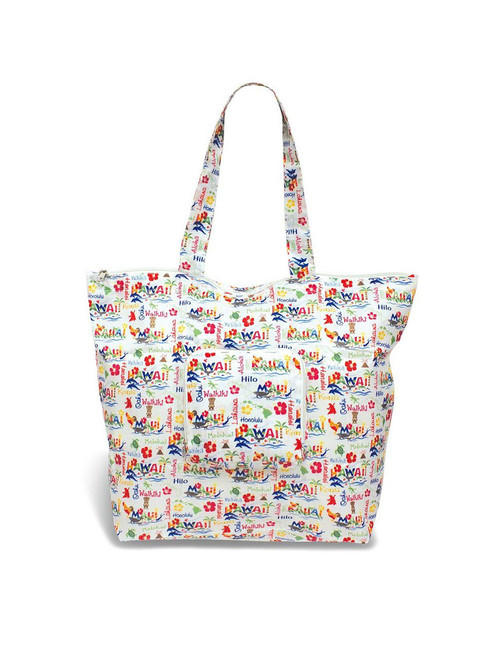 Hawaiian Adventure Deluxe Foldable Tote 400D Polyester Material Lightweight and Durable Easy to Store & Travel Front Zip Pocket & Suitcase Fastener Folds into Square Pouch - 6x6 Inch Open Measures Approx. - 21x15x6 Inches Color: White Imported