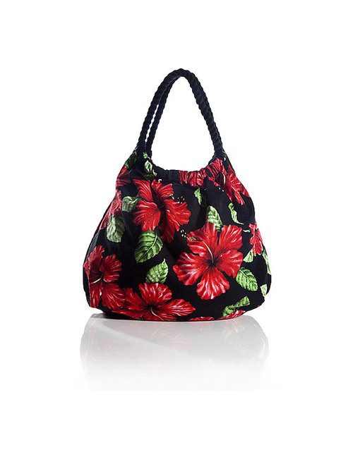 Black Tote Handbag Tropical Flirt Red Hibiscus Heavy Dobby Cotton Thick Cotton Rope Handles Color: Black Size: 18 Inches W x 16 Inches H Machine Washable Imported